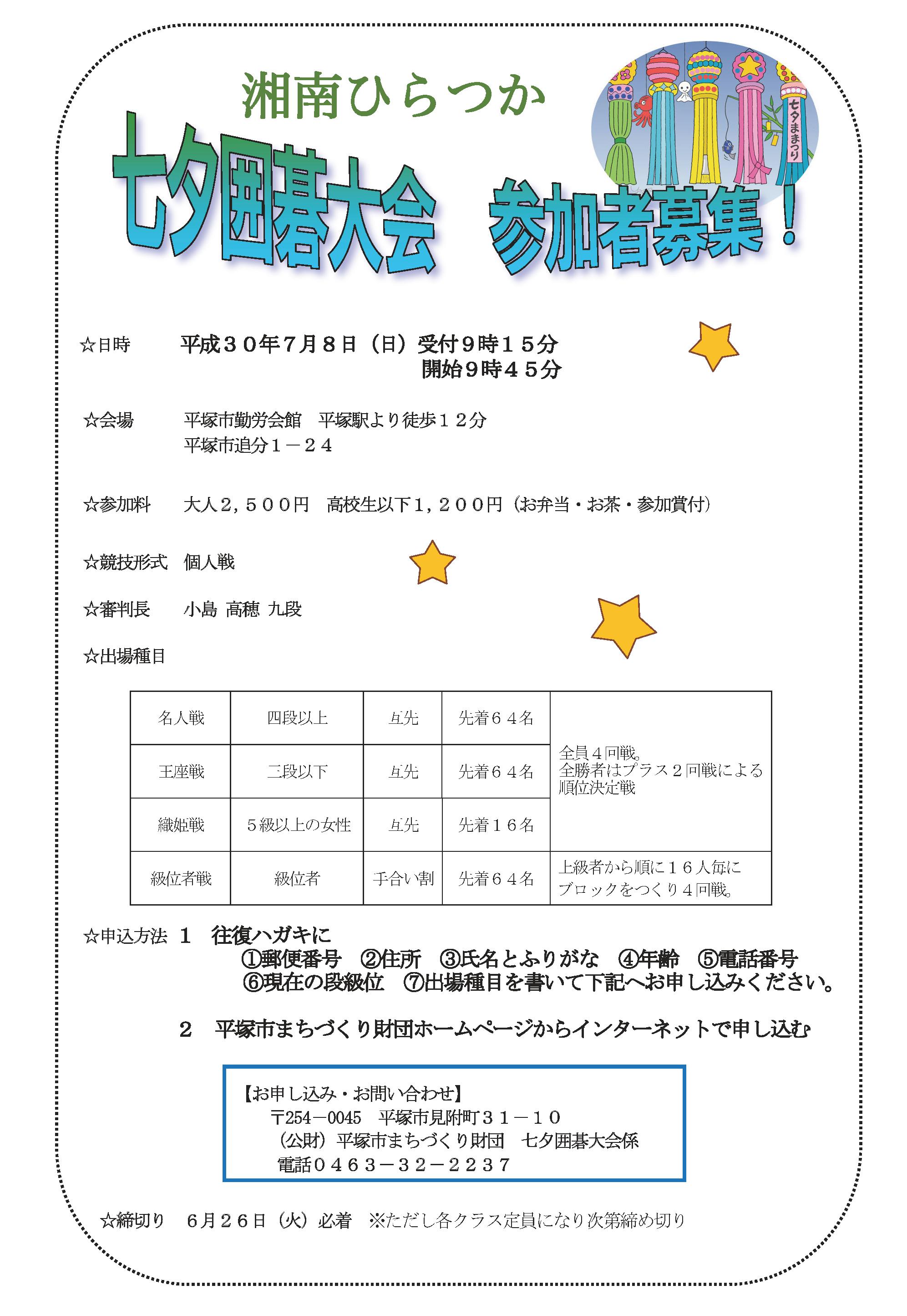 【神奈川】湘南ひらつか七夕囲碁大会